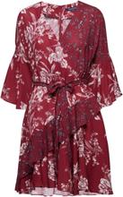 Ellette Crepe Frill Wrap Dress Kort Kjole Rød French Connection