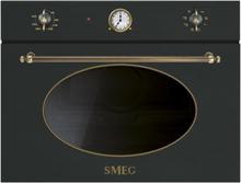 Smeg SF4800MAO-60 cm Kompakt Mikrovågsugn Antracit Med Beslag I Antik Mässing