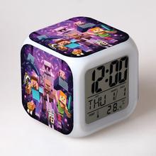 2020 Minecraft Creative Alarm Clock Digital Clock Change Color LED Night Light Cartoon Kid Room Decoration Child Birthday Gift