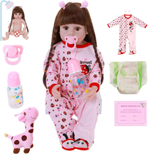 22inch 56cm Soft Vinyl Full Silicone Body Reborn Baby Doll Ladybug Clothes Princess Straight Long Hair For Kids Christmas Gifts