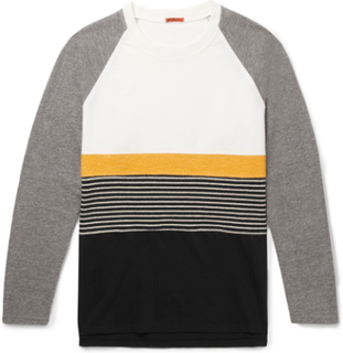Panelled Cotton-jersey, Brushed-twill And Striped Virgin Wool-blend Sweatshirt - Gray