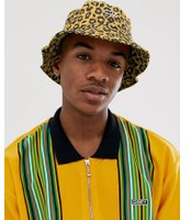 Obey Bowen leopard print bucket hat in yellow - Energy yellow