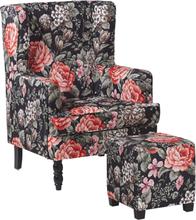 Nojatuoli rahilla kukkakuviollinen musta SANDSET