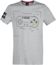 Nintendo - SNES - Super Nintendo Entertainment System - Controller -T-skjorte - gråmelert