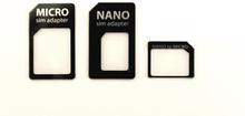 Simkort adapter, 3-pack