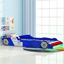 vidaXL LED Barnsäng racerbil 90x200 cm blå