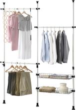 [en.casa]® Teleskooppinen vaateteline, metalli, muovi 110 - 278 x 160 - 200 cm valkoinen/musta