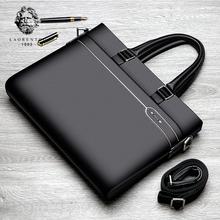 LAORENTOU Men's Genuine Leather Business Laptop Briefcase Handbag Shoulder Messenger Bag Man Quality Leather Notebook Briefcases
