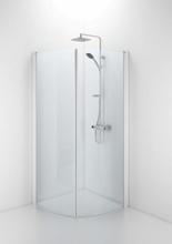Ifö Space buet dør m/håndtaksprofil 90 cm, Klart glass/Hvit profil - Kun 1 dør