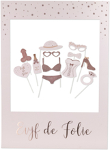 Photobooth kit med ramme polterabend rosa-guld 12 accessoires