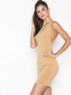 NLY One Side Boob Dress Fodralklänningar Beige