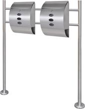 vidaXL Två brevlådor på ett stativ i rostfritt stål