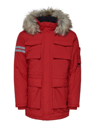 ONLY & SONS Waterproof Parka Coat Men Red