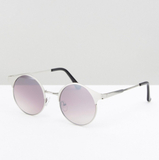ASOS Round Sunglasses In Silver With Silver Mirror