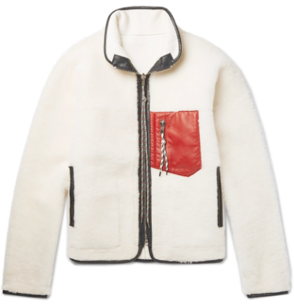 Pat Reversible Leather-trimmed Shearling Jacket - Cream