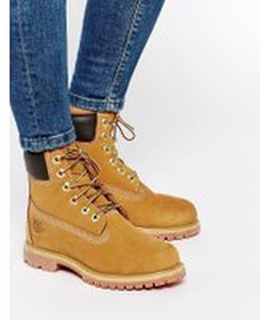 Timberland 6 Inch Premium Lace Up Beige Flat Boots - Wheat nubuck