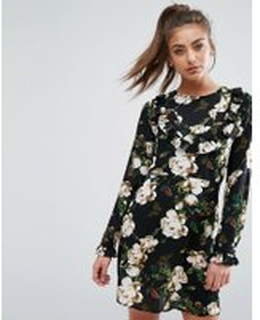 Boohoo Frill Front Floral Dress - Multi