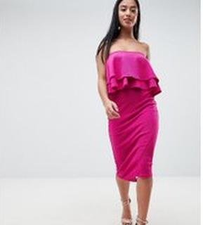 ASOS PETITE Double Ruffle Bandeau Pencil Dress in Texture - Fuchsia