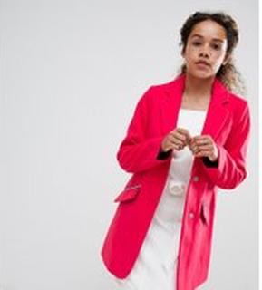 ASOS PETITE Slim Boyfriend Coat with Zip Pocket - Hot pink