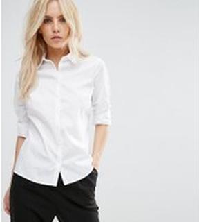 ASOS DESIGN Petite long sleeve shirt - White