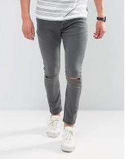 Brave Soul - Jeans med extra smal passform och slitna knän - Grå
