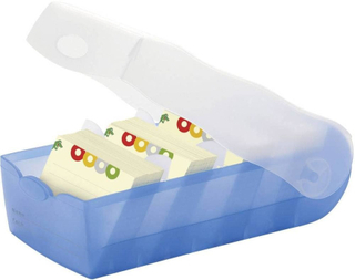 HAN Kartotekkasser CROCO Blå , Translucent 997-643 max. antal kort: 900 kort A7 tværformat inkl. 100 linjerede kort