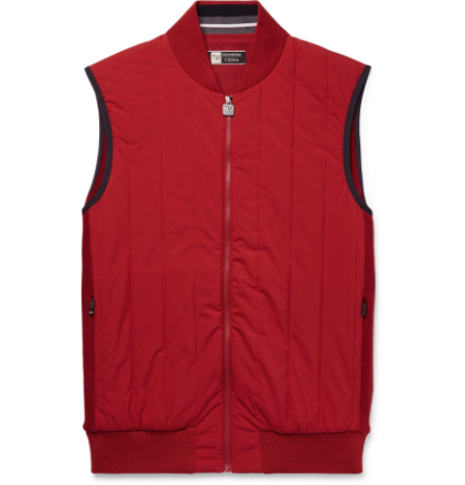 Quilted Wool And Shell Gilet - Red
