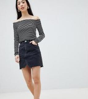 ASOS DESIGN Petite denim pelmet skirt in washed black - Black