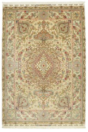Tabriz 60 Raj silkerenning teppe 198x282 Persisk Teppe
