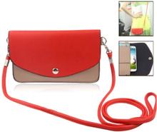 Fargebag (Rød) Smartphone Lær Veske - Medium