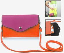 Fargebag (Rosa) Smartphone Lær Veske - Stor