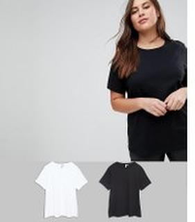 ASOS DESIGN - Curve ultimate t-shirt med rund halsringning 2 pack SAVE - Svart/vit