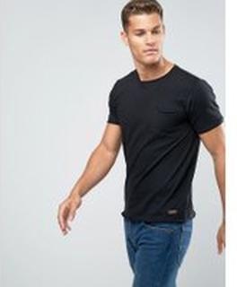 Brave Soul - T-shirt i basmodell med rå kant - Svart