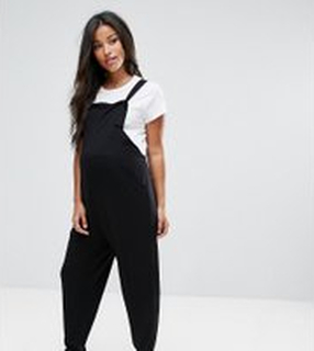 ASOS DESIGN Maternity dungaree jumpsuit in jersey - Black
