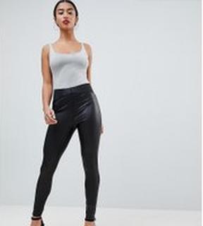 ASOS DESIGN Petite leather look leggings with elastic slim waist - Black