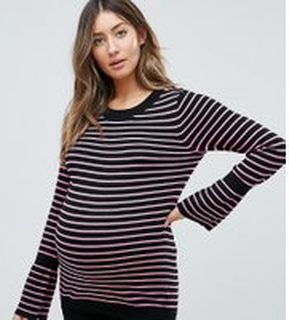 ASOS Maternity Jumper with Stripe and Fluted Sleeve - Multi