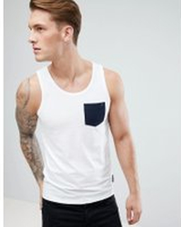 French Connection – Linne med kontrasterande ficka - White/marine