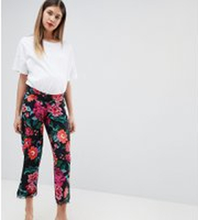 ASOS DESIGN Maternity under the bump pyjama trouser in jersey with lace hem in floral print - Multi