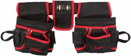 Toolland Dubbla verktygsfickor för elektriker svart och röd FI68