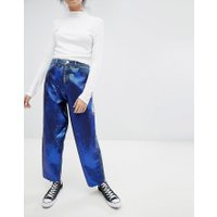 ASOS DESIGN - Mellanblå boyfriend-jeans med paljetter - Indigo