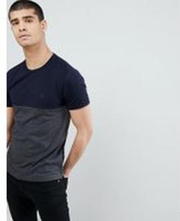 French Connection - Blockfärgad t-shirt - Marinblå/koksgrå mel