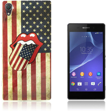 Westergaard Sony Xperia Z2 Silikon Deksel - USA Flagg og Rolling Stones Logo