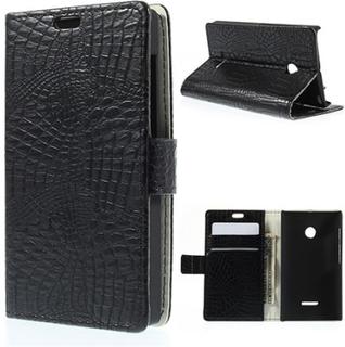 Marx Skin Microsoft Lumia 435 lær Case med lommebok - Sort Krokodille Skin
