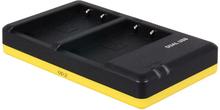 Dobbeltoplader til to batterier Olympus BLS-5 / BLS-50