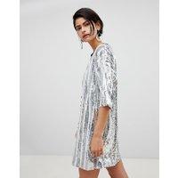 Ragyard - Randig t-shirtklänning med plajetter - Silver stripe sequin