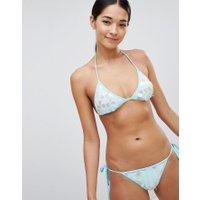 PrettyLittleThing - Bikiniunderdel med paljetter och knytning i sidan - Blå