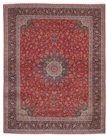 Keshan med silke teppe 394x504 Persisk Teppe