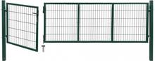 Hageport med stolper 350x100 cm stål grønn