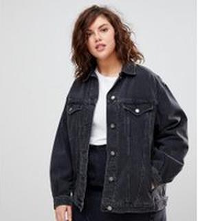 ASOS DESIGN Curve denim girlfriend jacket in washed black - Washed black
