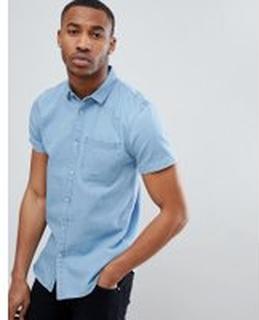 New Look - Ljusblå kortärmad skjorta i denim med normal passform - Ljusblå 75f828439e161